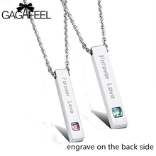 Gagafeel Laser Custom Engrave Logo Couple Necklace For Lover Man Woman Jewelry Stainless Steel Crystal Zircon Chain Pendant Gift(China)