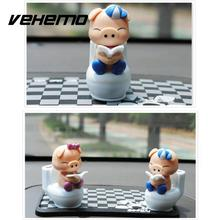VEHEMO Cute Piglet Reading on Toilet Bowl Pig Solar Toy Car Stying Dashboard Office Decor Ornament Gift Car Interior Accessories(China)