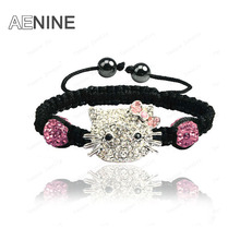 AENINE Jewelry Cute Hello Cat Austrian Crystal Bracelets Micro Pave CZ Disco Ball Beads Jewelry Bracelets For Girl Gift SHBR41
