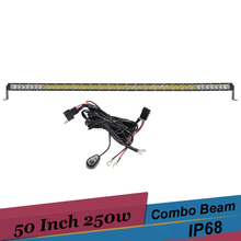50'' 250W Combo LED Light Bar Offroad 4x4 AWD Pickup Suv Truck Tractor Driving Work Light  for Jeep TJ Hummer H3 Toyota Prado