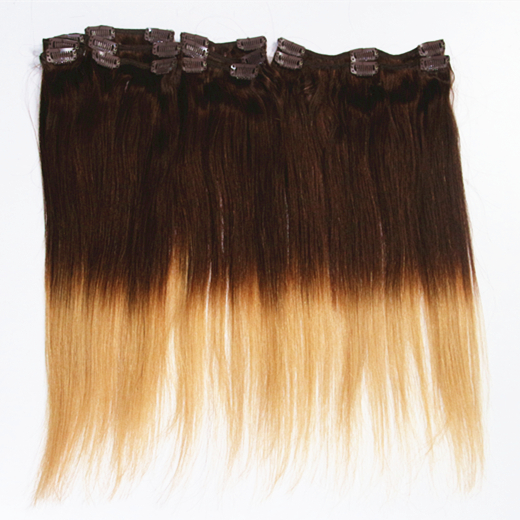 18inch 140g Brazilian Remy Double Wefted Full Head Clip in Human Hair Extensions Ombre Remy Hair Extensions T4/27,T27/613,T10/22<br><br>Aliexpress