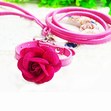 Pet Dog Collar and leash set Rose Flower Leather Cat Puppy Dog Pet dog Collar & Leads for Chihuahua Poodle Pitbull(China)