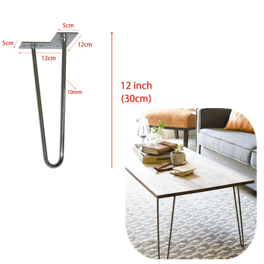 12 hairpin legs 2-rods design stainless steel table legs,3/8 dia,metal furniture base for DIY,set for 4<br>