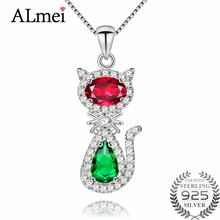 Almei Red Green Diopside Rhinestone Lovely Cat Design Pendant Brilliant 925 Sterling Silver Necklace for Girls with Box CN033(China)