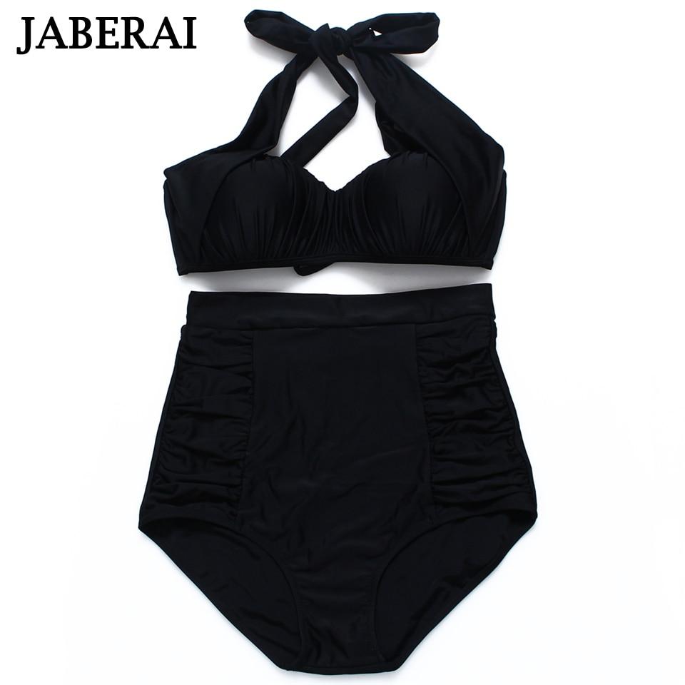 JABERAI Women High Waist Swimwear 2017 Arrival Black Bikini Set Strappy Halter Swimsuit Push Up Beachwear Bathing Suit 2<br><br>Aliexpress