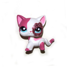 Pet Shop Animal White Pink Cat Kitty Doll Figure Child Toy FREE SHIPPING(China)