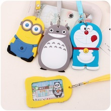 Silicone Card Case Holder Portable Cute Cartoon String Totoro Minions Metro ID Bus Identity Badge Lanyard Porte Carte Credit