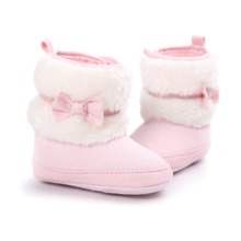 [Bosudhsou] R-44 Baby Girls Warm Winter Shoes Snow Boots Soft-soled Infant Non Slip Booties Prewalker Shoes Children Clothing(China)
