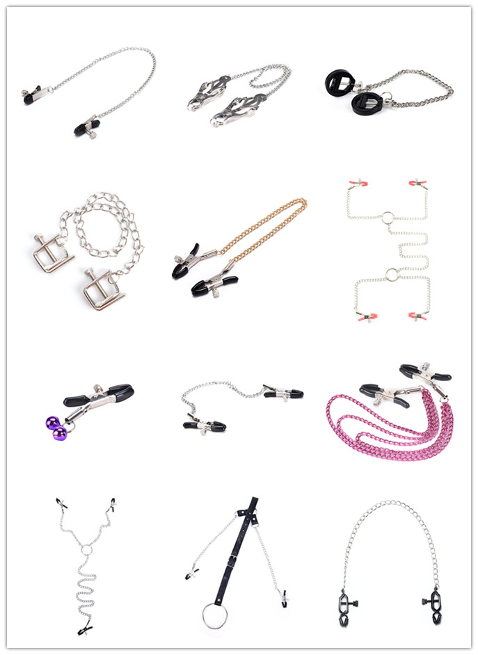 1pc Nipple Clamps With Metal Chain Clips Flirting Teasing Sex Flirt Kit Nipple Clamps Slave Bdsm Exotic Accessories
