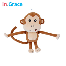 In.Grace high quality plush and stuffed long arm monkey toy for children brown small monkey dolls living animal doll free ship
