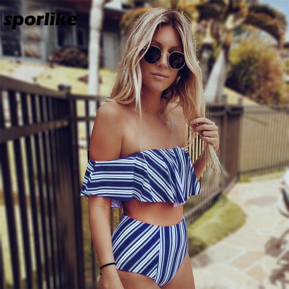 2017-Sexy-bikini-Set-High-Waist-Swimwear-Women-Striped-Biquini-Ruffled-Swim-Bathing-Suit-White-Blue