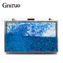 Transparent Rectangular Liquid Quicksand Acrylic Clutch Evening Bag Women Shoulder Bags Sequins star Party Clear Purse Handbag(China)