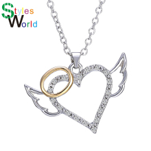 Buy 2017 Fashion Angel Wings Love Heart Pendant Necklace Jewelry Fashion Chain Necklaces Pendants Cute Daughter for $1.39 in AliExpress store
