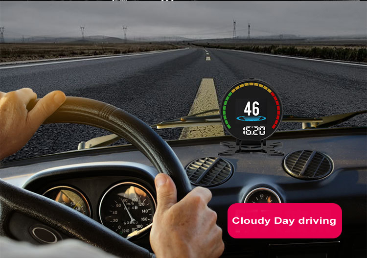 P15 Smart Car Head Up Display HUD with Windshield Digital Motor Speed Meters Projector OBD2EUOBD Interface for 99% of Vehicles_F12