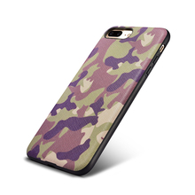 Stylish Army Camouflag Element Geuine Leather + High Quality Silicone Hard Back Case Cover For Apple iPhone 7/ 7 Plus Cases Bag