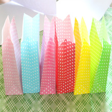 Wholesale 50pcs/lot small Dots Color Kraft Paper Bag Size 23x12x7.5cm Boutique Paper Gift Bag,Food Shopping Bag Free Shipping