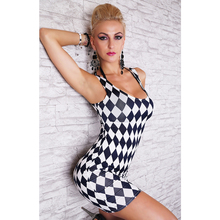 Tight Women Dress Sexy Club Women's Black And White Mixed Colors Quilted Vest Minidress Package Hip Thin Dress Clubwear