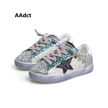 2017 Autumn sports kids shoes for girls Sequins Fashion little girls shoes casual children shoes flat Do the old sneakers(China (Mainland))