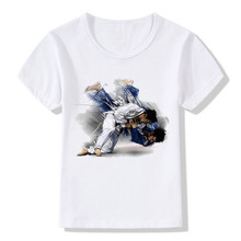 Boy and Girl Evolution Of A judo T-shirts Children Judo Top Tee Baby T shirt 2017 Summer Soft White Tee Shirt,HKP402(China)