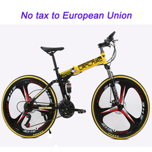 Buy 21 speed folding mountain bike 26inch double disc brakes mountain bicycle double damping 6 knife wheel 3 knife wheel bicycle for $262.29 in AliExpress store