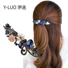 Women headwear 2017 retro flower hair clip rhinestone hair barrette bow hair accessories for women(China)