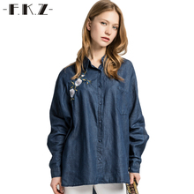 FKZ Spring Shirt Women Flower Embroidery Denim Blouse Soft Jeans Loose Full Sleeve Female Casual Shirts Tops Blouse SKBYF47(China)