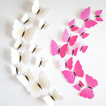 Hot Sale 3D Butterfly Wall Decals12pcs 6big+6small PVC 3D Butterfly Wall Sticker for Home Decoration(China)