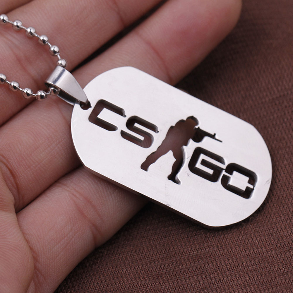 Stainless Steel CSGO Dog Tag Collier Jewelry Game Theme Cs Go Cs Go Necklace Counter Strike Name Tag Pendant Neckless