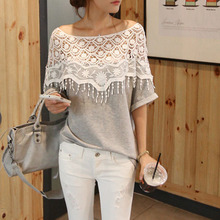 Bat Sleeve T Shirt Women Lace T-shirt Gray Tee Femme 2017 Fashion Womens Tops Loose Hollow Out T Shirt Korean Clothing