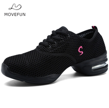 MoveFun Soft Breath Dance Shoes for Women 2017 Platform Sports Dancing Sneakers Woman Girls' Practice Jazz Shoes Ladies-04(China)