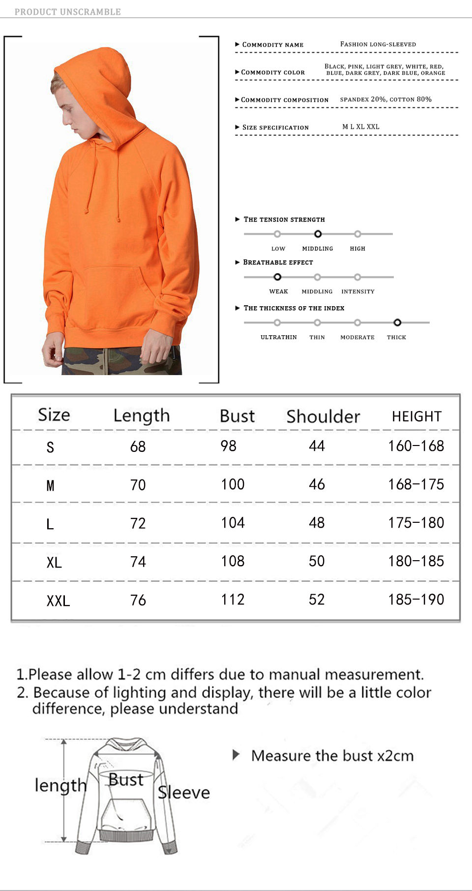 17 fashion color orange hooides men's thick clothes winter sweatshirts men Hip Hop Streetwear solid fleece hoody man Clothing 2