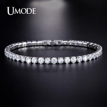 UMODE Brand Jewelry Fashion Charm Bracelets For Women Clear Bracciali Prong Setting Box Chain Braclets Trendy Love Gifts AUB0097