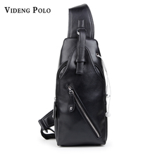 VIDENG POLO PU Messenger Bag Crossbody Multi-function men exercise chest package leisure headphone jack inclined shoulder bag