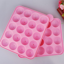 20 Holes Silicone Non-stick Cake Pop Kit Silicone Lollipop Mold Cake Mold Baking Chocolate Ice Lattice Bakeware Mould +20 Sticks