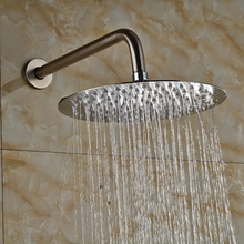 "Bathroom Brushed Nickel 10"" Ultrathin Rain Shower Head Stainless Steel Showerhead w/Shower Arm Pole(China)"