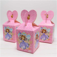 12pc Sofia Princess Cartoon Paper Candy Box Chocolate Boxes Souvenir Bag Girl Kid Birthday Party Decoration Sweet Gifts Supplies