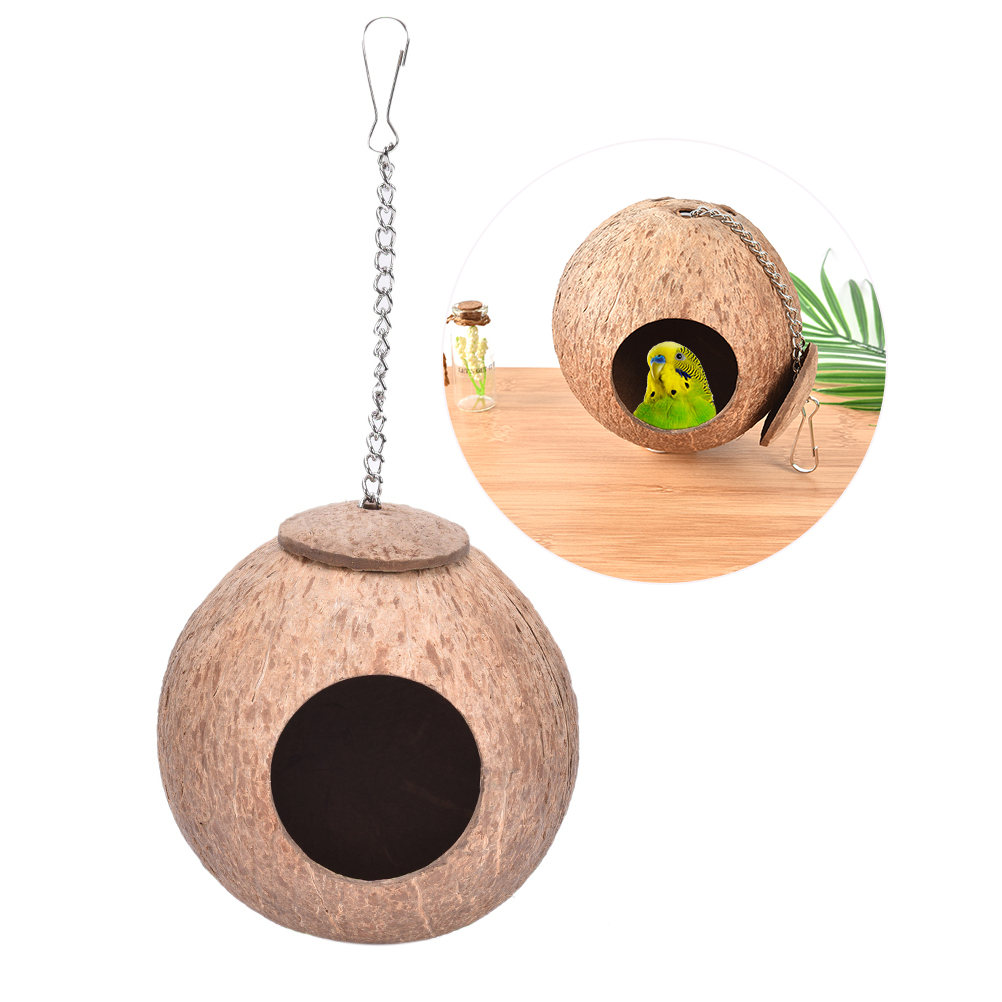 2019 New Natural Wooden Parrot Toys Coconut Shell Wood Handmade Parrot House Matching Ladder Bird Toys for Parrot Pet supplies