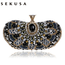 Vintage Beaded Women Evening Bags Rhinestones Wedding Handbags Diamonds Pearl Handle Chain Shoulder Messenger - SEKUSA EVENING BAG Store store