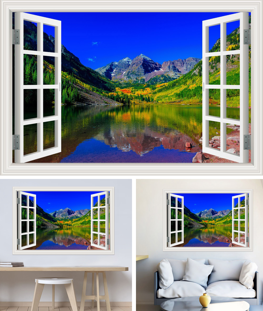 HTB1lFc1cKLM8KJjSZFqq6y7.FXaO - Modern 3D Large Decal Landscape Wall Sticker Snow Mountain Lake Nature Window Frame View For Living Room
