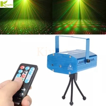 Kingoffer Mini 110-240V Red Green RGB Remote Control Laser Meteor Projector Lights DJ KTV Home Party Dsico Xmas LED Stage Light(China)