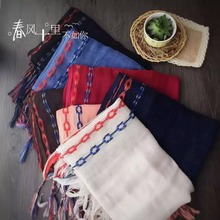 [SLKSCF] 200X70CM Fashion Design National Embroidery Cotton Scarf Natural Linen Tassel Scarf Pashmina Literature Art Scarf Lady(China)