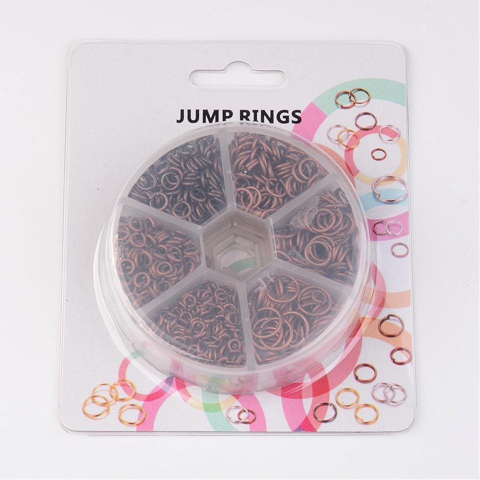Iron Jump Rings for Jewelry Making DIY Metal Findings Red Copper Antique Bronze Nickel Free Mix Sizes 4~10x0.7~1mm,1745pcs/box 3