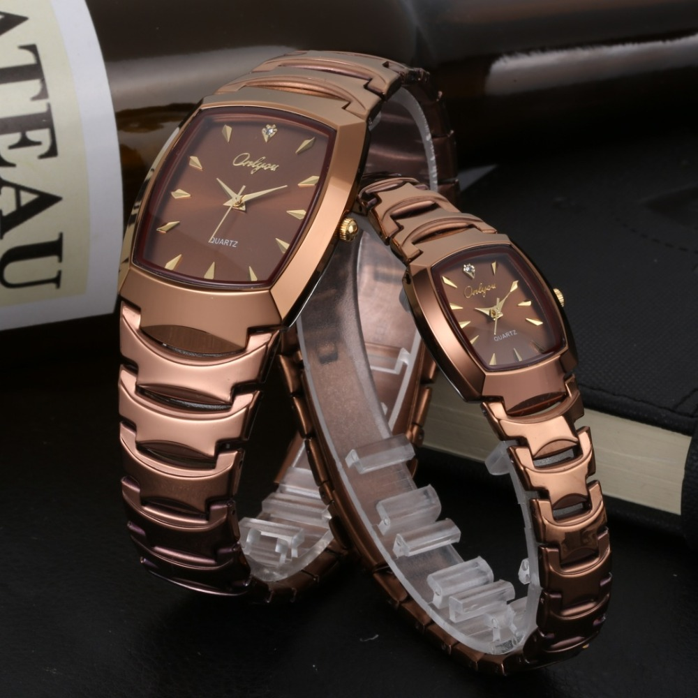 Onlyou Lovers Watches Tonneau Coffee Stainless Steel Quartz Luxury Brand Women Men Wrist Watch Gifts Male Female Clock 8721<br>