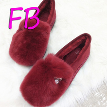 Big Size Eu41 Real Cow Leather Thick Bottom Boot Rex Rabbit Hair Snow Boot Flat Plush Shoes Soft Bottom Pregnant Women Shoes