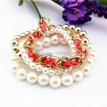 Euro style All match multi layers weaved fake pearl bracelet wholesale(China)
