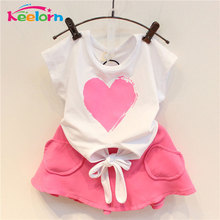 Keelorn Girls Clothes 2017 Brand Girls Clothing Sets Kids Clothes Love Pattern Children Clothing Toddler Girl Tops+Skirt 3-7Y