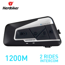 HEROBIKER 1200M BT Motorcycle Helmet Intercom Waterproof Wireless Bluetooth Moto Headset Interphone with FM Radio for 2 Rides(China)
