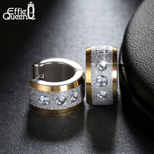 Effie Queen Factory Price Stainless Steel Earrings Pendientes Jewelry 2017 Round Hoop Women or Men Punk Rock Earrings IE01