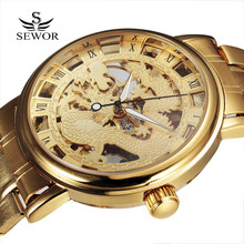 2016 New SEWOR Chinese Dragon Skeleton Hollow Fashion Mechanical Men Clock Luxury Male Business Gold Steel Wrist Military Watch