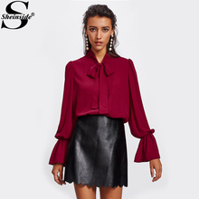 Buy Sheinside Elastic Trumpet Cuff Bow Tied Blouse Women Burgundy Tie Neck Flare Sleeve Elegant Top Fall 2017 fashion Blouse for $13.98 in AliExpress store
